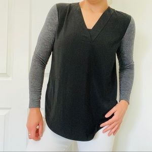 LOFT // Gray & Black Blouse